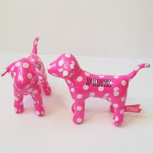 PINK Polka Dot Dog Victoria Secret Plush Lot 2